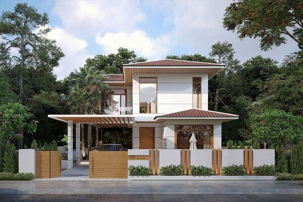 Nhà mái ngói thiết kế đơn giản