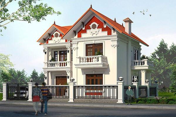 Nhà phố mái ngói với phong cách tân cổ điển